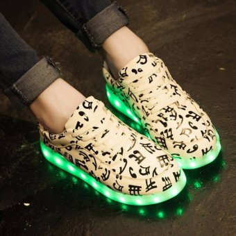 Unisex LED Night Light Couples Men Women Lace Up Casual Shoes Sneakers 8 colors - intl