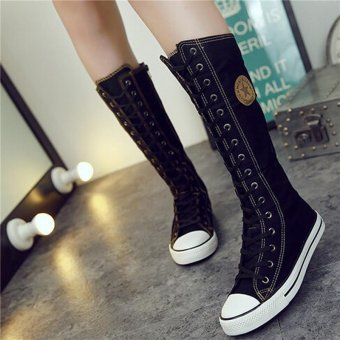 LALANG Fashion Women Lace Up Zip Knee High Boot Punk Casual Canvas Flat Shoes (Black) - intl