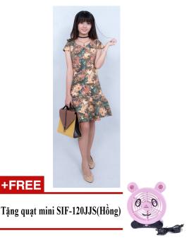 Đầm midi hoa lá cách điệu Korea Zaskin ZA01D8 (Nâu) + Tặng quạt mini shinil SIF-120JJS (Hồng)