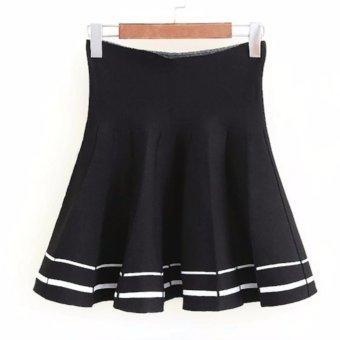 Chân váy ngắn nữ dáng xoè xếp li kiểu sọc (đen) LTTA84