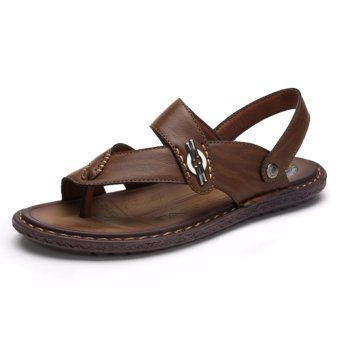 Jarma man's sandals slip-ons beach sandal Upscale leather summer shoes (coffee) - intl