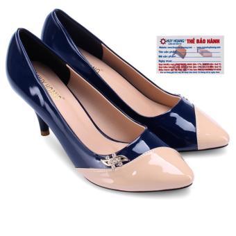 HL7024 - Giày nữ gót cao 7cm Huy Hoàng màu xanh đậm phối kem
