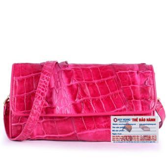 HL6271 - Túi đeo nữ da cá sấu Huy Hoàng 2 gai màu hồng