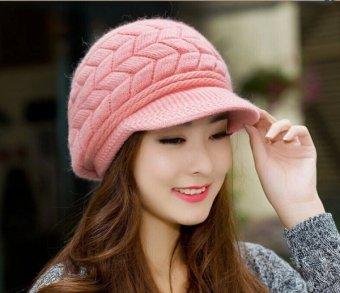 Fashion Korean Women Crochet Knit Hat Winter Warm Ski Beanie Wool Peaked Cap - intl