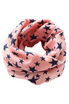 Bluelans Kids Boy Girl Stars Cotton Neckerchief Scarves Shawl Unisex Knitting Pink (Intl)