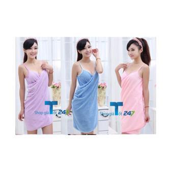 Khăn tắm đa năng cotton mềm dạng váy BÉ XINH (Hồng tím)