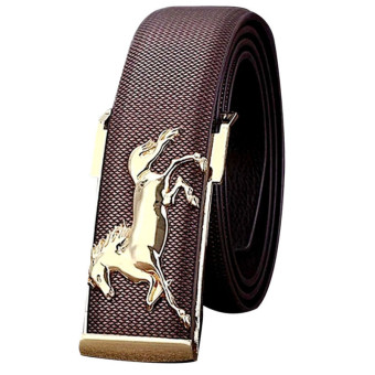 Gold Horse Leisure Leather Strap Business Men's Belt Metal Buckles Belt Coffee (Intl)