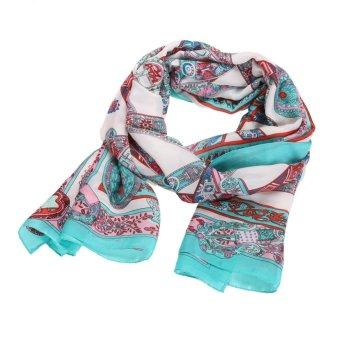 Casual Bandana Scarve Women Silk Scarf Shawl Print Scarves (Light Blue) - intl