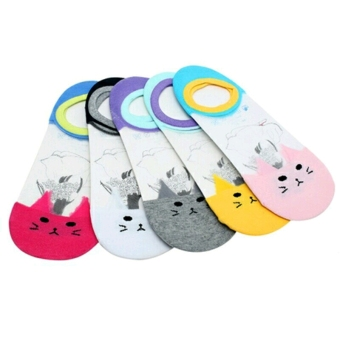 Bộ 5 đôi vớ lười hình mèo dễ thương 786