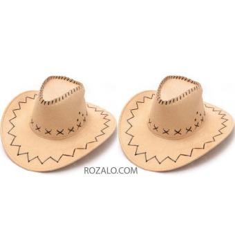 Bộ 2 mũ rộng vành nam kiểu cao bồi da lộn Rozalo RM2807B - Be