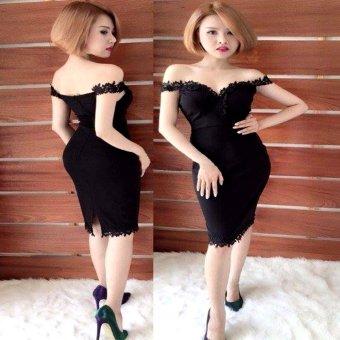 Đầm body cao cấp bẹt vai ren g101 (Đen)