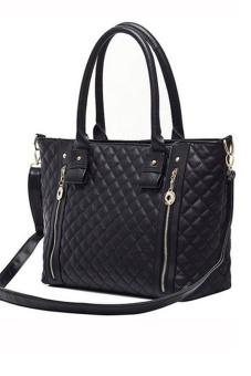 Women Ladies Large Capacity Quilted Pattern PU Leather Tote Handbag Shoulder Messenger Bag Black (Intl) - intl