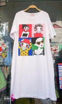 Váy bầu thun hoạt hình (Trắng)