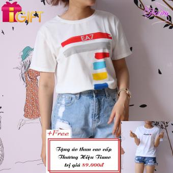 Áo Thun Nữ Tay Ngắn In Hình Ea7 Cá Tính Tiano Fashion LV225 ( Màu Trắng ) + Tặng Áo Thun Nữ Tay Ngắn In Hình Love Her Phong Cách Tiano