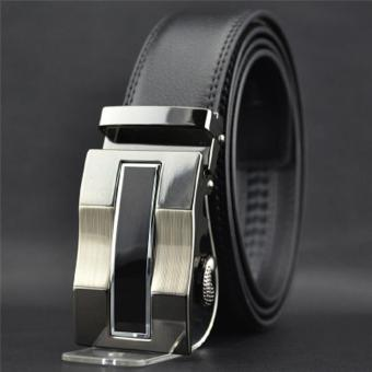 LALANG Fashion Men Automatic Buckle Faux Leather Belt 1# (Black)