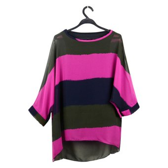 Cyber Women's Loose Batwing Top Stripe Strander Vest Tops Blouses Shirt (Red) - intl