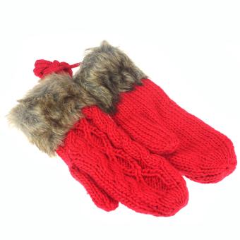 Women Winter thicking Mittens Knitted Warm Fur Halter Wrist Gloves Red - Intl