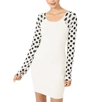 New Fashion Women Dress Polka Dot Round Neck Long Sleeve Slim Elegant Evening Party Dress White - Intl