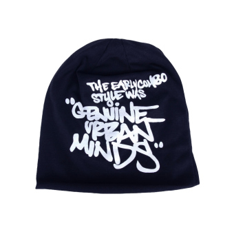 Korean Fashion Men Women Beanie Letter Print Hip-hop Unisex Knitted Hat Cap Headwear Dark Blue (Intl)
