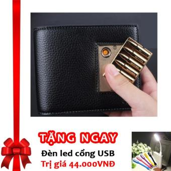 Bóp Ví Da Nam Cao Cấp Kiêm Bật Lửa Hồng Ngoại Cá Tính Kèm Cáp Sạc USB F91 ((Đen - Vàng (Mẫu ngẫu nhiên)) + Tặng đèn LED cổng USB