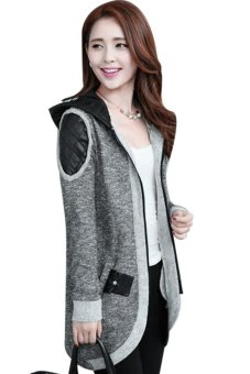 Cyber Women's Casual Patch Decorate Long Sleeve Splicing Knit Trench Coat Jacket Outwear Swallowtail Suit - intl