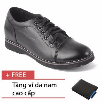 Giày da nam tăng chiều cao SMARTMEN GD2-08 (Đen) + Tặng 1 ví da nam