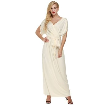 Cyber ANGVNS Sexy Women Batwing Sleeve Deep V Neck Solid Maxi Long Dress Party Evening Full Gown with Belt ( Nude ) - Intl