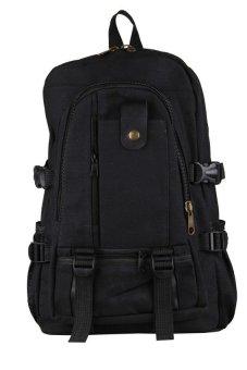 HKS Men Canvas Backpack Shoulder Outdoor Camping Travel School Student Bag Rucksack Black - intl