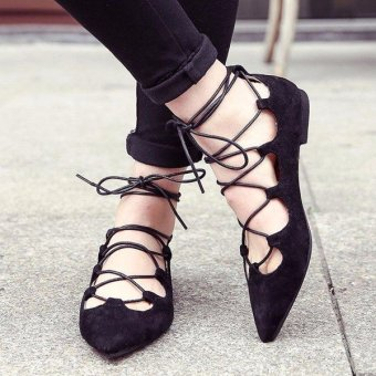 Women Flat Gladiator Lace Up Ballets Hollow Out Sandals Roman Pointed Toe Shoes - intl