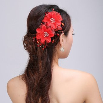 Womens Sliver Flower Bridal Wedding Rhinestone Hair Clips Headpiece Accessories Red - intl
