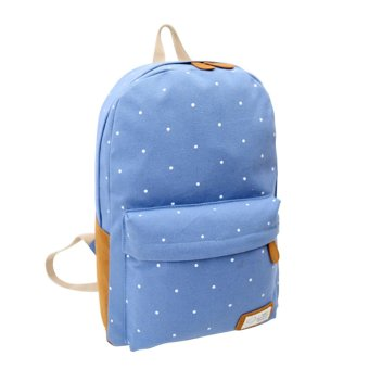 Canvas Backpack Satchel Rucksack Dot Printing Schoolbag Leisure Travel Shoulder Bag Light Blue - Intl - intl