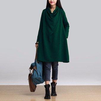 Women Loose A-line Shirt Tunic Cotton Long Sleeve Dress Pullover Blouse - intl