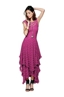 Cyber Backless Lace Double Layered Long Dress (Rose Red) - intl