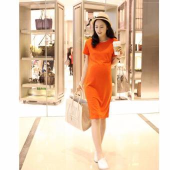 Đầm (váy) bầu công sở cao cấp màu cam VB2208
