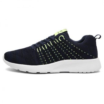 2016 Men Fly Line Breathable Mesh Casual Shoes Sneaker(Navy Blue) - intl