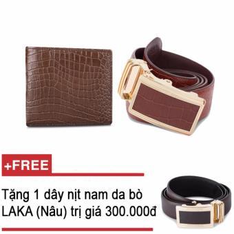 Bộ ví và thắt lưng nam da bò thật LAKA nâu cá sâu + Tặng 01 thắt lưng nam da bò LAKA (Nâu trơn) trị giá 300.000đ