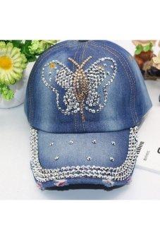 Moonar Fashion Women Denim Rhinestone Embedded Baseball Cap (7#)