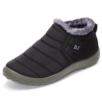 Winter Warm Wool Lining Slip On Flat Ankle Snow Boots For Women Black - intl