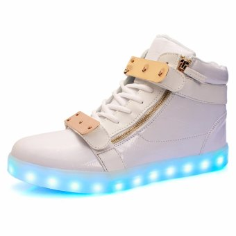 2017 Size35-46 New Kids USB Charging LED Light Shoes Soft Leather Casual Men&Women Luminous Antiskid Bottom Party Sneakers - intl
