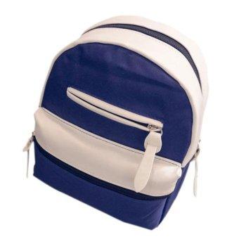 Women Fashion Simple Satchel Backpack Rucksack Shoulder School Dark Blue - intl