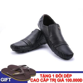 Giày lười nam da thật VNLS8AZ99-1D-1 + Tặng 1 đôi dép