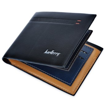 Baellerry Stripe Business Short Clutch Wallet Photo Cash Card Holder Horizontal(Black) - intl