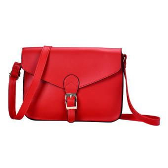Women Imitation leather Shoulder Bag Satchel Handbag Retro Messenger Red