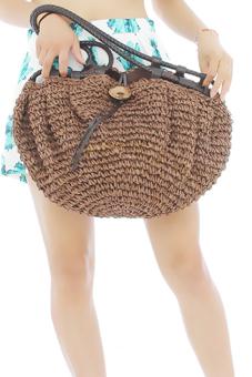 LALANG Women Retro Shoulder Bag Big Coconut Buttons Dark Coffee