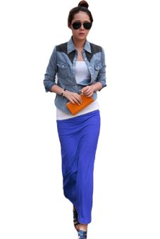 Linemart Maxi Long Skirt (Blue) - intl