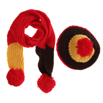New Baby Kid Girl Boy Hat Warm Knitted Wool Cap Scarf (Red) (Intl)