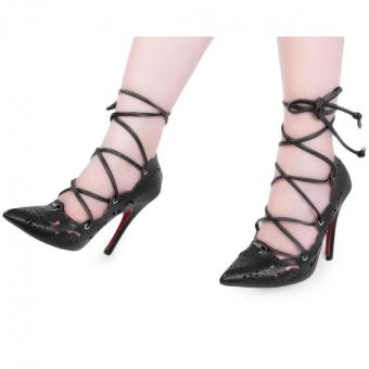 Sexy High Thin Heel Shoes Ladies Cross Lace Up Hollow Pointed Toe Solid Color (Black) - intl