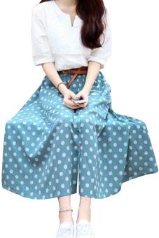 Chân váy vintage denim chấm bi Bui Nguyen T345 (Xanh)
