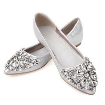 Moonar Fashion Women Casual Rhinestone Decor Pointed Toe Flat Shoes Slip-on Shoes Size 35-40 (Silver) - intl