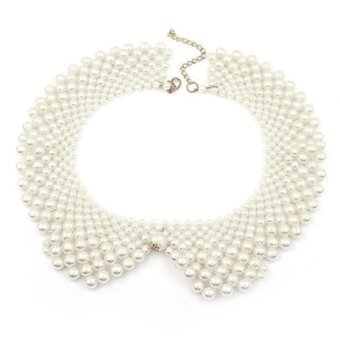 Women's Detachable Fake Shirt Collar Beaded Round Necklace Chain False Collar White - intl